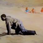 994-Clandestin debarquant sur une plage des îles Canaries