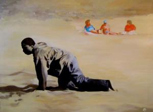 Clandestin debarquant sur une plage des iles Canaries
